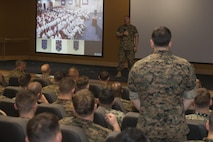 Commandant of the Marine Corps Gen. Robert B. Neller speaks to Marines with Marine Special Operations Command (MARSOC) during a town hall at Stone Bay, Camp Lejeune, N.C., March 17, 2016. Neller toured MARSOC facilities, observed their equipment, and met with Marines. (U.S. Marine Corps photo by Cpl. Samantha K. Draughon)