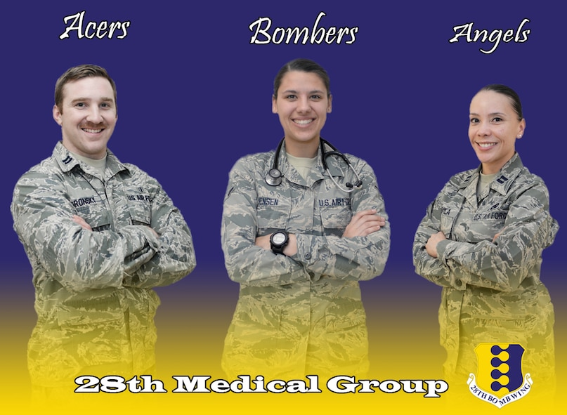 Capt. Jesse Gronsky, 28th Medical Operations Squadron physician assistant, left, Airman Makenna Jensen, 28th MDOS medical technician, center, and Capt. Lisis Davila, 28th MDOS team nurse, are a part of the family health clinic team at Ellsworth Air Force Base, S.D., March 15, 2016. The clinic is broken up into three teams, Acers, Angels and Bombers, and provide care for more than 11,000 patients. (U.S. Air Force graphic by Airman 1st Class Sadie Colbert/Released)