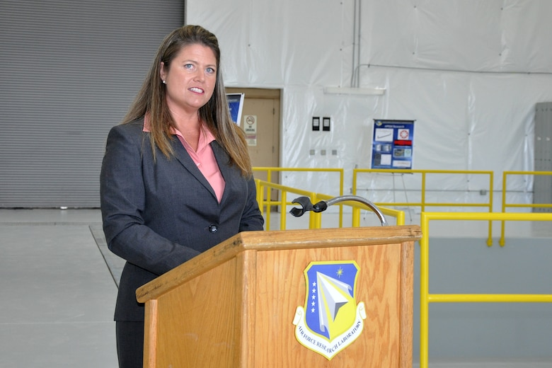 Mary Lou Robinson speaks at the dedication ceremony of a new HPM laboratory. Robinson made history when she was selected as the Air Force Research Laboratory Directed Energy Directorate's first woman civilian division chief. (Courtesy photo)
