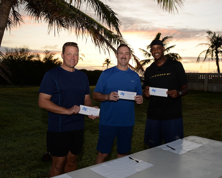 Col. Tyrell Chamberlain, 36th Wing vice commander, left, Brig. Gen. Andrew Toth, 36th Wing commander, and Chief Master Sgt. Michael McMillan, 36th Wing command chief pose for a photo after filling out Andersen's first three donation slips to kick off the 2016 Air Force Assistance Fund March 21, 2016, at Andersen Air Force Base, Guam. The AFAF raises money annually for charitable organizations that provide support to Airmen and their families during emergencies, for educational needs, or to offer secure retirement homes for widows or widowers. (U.S. Air Force photo/Airman 1st Class Jacob Skovo)