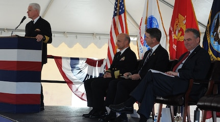 "DAHLGREN, Va. - Vice Admiral Terry Benedict, Navy Strategic Systems Programs (SSP) director, tells Naval Surface Warfare Center Dahlgren Division (NSWCDD) personnel that their efforts are ""absolutely critical to the defense of our country"" during a ground breaking ceremony for the new Missile Support Facility, March 18. ""Once completed, this $22.7 million effort, 58,000-square-foot facility is going to house the SLBM (Submarine Launched Ballistic Missile) program offices and the labs for over 300 outstanding professionals in the fields of engineering, physics, math, statistics, computer science, and the list goes on,"" said Benedict, the event's keynote speaker, as (left to right) NSWCDD Commanding Officer Capt. Brian Durant, Rep. Rob Wittman, R-Va., and Sen. Tim Kaine, D-Va., listen. NSWCDD has been a key member of the SLBM team since the program's inception, and will continue throughout the next generation of submarine - the new Ohio-Replacement Program."