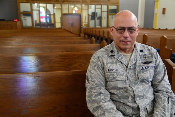 Lt. Col. John Kenyon, 27th Special Operations Wing chaplain, prepares for retirement March 18, 2016, at Cannon Air Force Base, N.M. Kenyon has provided faithful service to the Air Force for 31 years and looks forward to what lies beyond active-duty service. (U.S. Air Force photo/Staff Sgt. Alexx Pons)