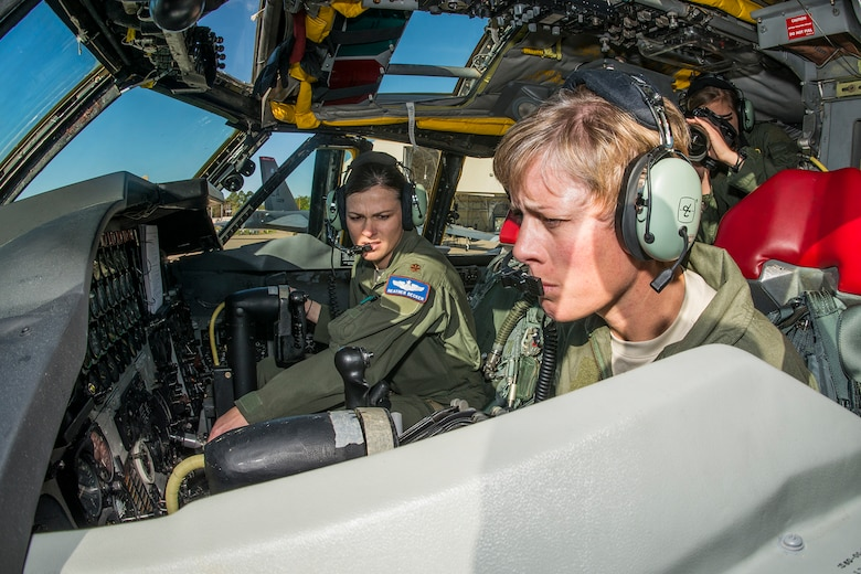 U.S. Air Force Col. Kristin Goodwin, the 2nd Bomb Wing commander, and Maj. Heather Decker, assigned to the 93rd Bomb Squadron, ready their B-52 for engine start prior to a mission on Mar. 22, 2013, Barksdale Air Force Base, La. In recognition of Women's History Month, the mission consisted of two B-52H Stratofortress bombers flown by two all-female aircrews made up from members of the Air Force Reserve Command's 93rd and 343rd Bomb Squadrons and the 2nd Bomb Wing's 11th, 20th and 96th Bomb Squadrons. (U.S. Air Force photo by Master Sgt. Greg Steele/Released)
