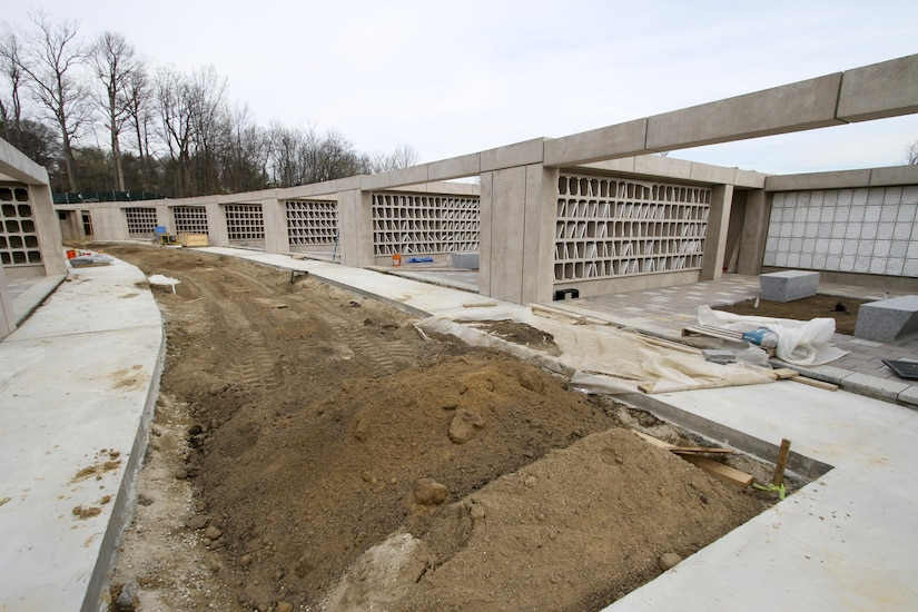 ARLINGTON, Va. – Construction continues on multiple columbariums being built at the Arlington National Cemetery's Millennium Project. The new columbariums are part of a mixture of in-ground burials and above ground inurnment sites, which will maximize the amount of burial opportunities offered in the 27 acre expansion project. (U.S. Army photo/Patrick Bloodgood)