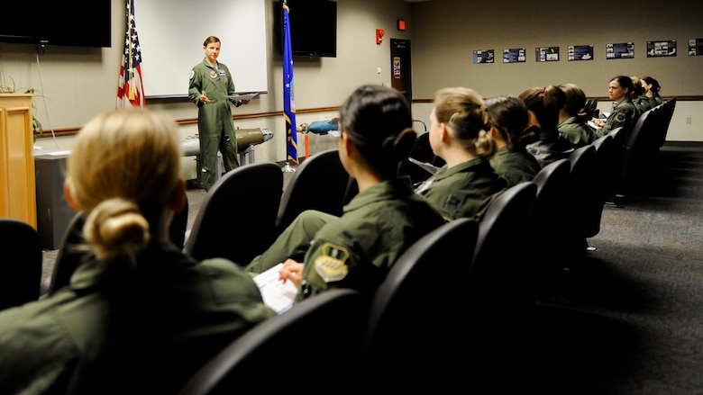 Maj. Sarah Fortin, 20th Bomb Squadron assistant director of operations, briefs aircrew prior to their takeoff from Barksdale Air Force Base, La., March 22, 2016. For the first time in Air Force Global Strike Command and B-52 Stratofortress history, all-female aircrews were assembled to honor Women's History Month. (U.S. Air Force photo/2nd Lt. Jessica Adams)