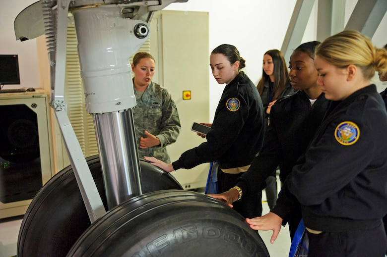 "While visiting the 373rd Training Squadron Det. 5 local girls were given the opportunity to see and touch stand-alone ""Hot Mockup"" components of all the key components of the C-17 Globemaster III. Over 130 middle and high school girls from 12 Lowcountry schools visited Joint Base Charleston March 22 to learn about jobs in aviation as part of the 315th Airlift Wing's 9th annual Women in Aviation Career Day. (U.S. Air Force photo by Senior Airman Jonathan Lane)"