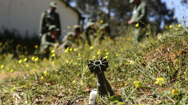 U.S. Marine Staff Sgt. Phil Mayer, an explosive ordnance disposal technician with Special-Purpose Marine Air-Ground Task Force Crisis Response-Africa, debriefs a group of future instructors during an ordnance reconnaissance training exercise in Kenitra, Morocco, March 16, 2016. Students from across the Moroccan military branches are working together with U.S. Marine and Utah Air National Guard explosive ordnance disposal technicians and Utah National Guard engineers to build up Morocco's demining capabilities. The training is part of the U.S. Humanitarian Mine Action Program which has been assisting partner nations in developing their mine action capacity since 1988.