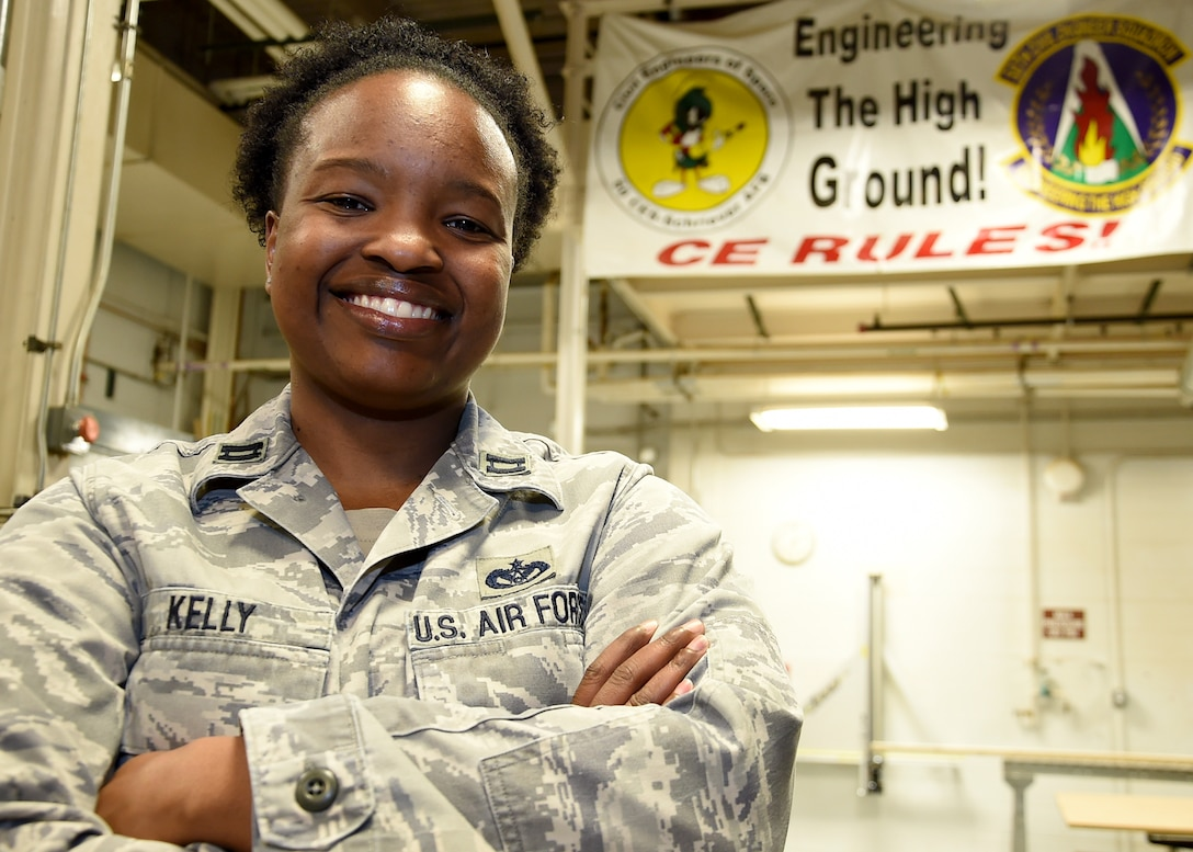 Capt. Tyronda Kelly is the 50th Civil Engineer Squadron flight commander and has been assigned to Schriever for nine months. She directs the engineers, equipment and funding needed to sustain, repair and maintain all of Schriever's $1.6 billion facilities and infrastructure. Kelly also oversees the base's Central Utility Plant providing critical electrical, heating ventilation, air conditioning and plumbing support to all space communication networks, space operations squadrons and mission partners. (U.S. Air Force photo/Staff Sgt. Debbie Lockhart)