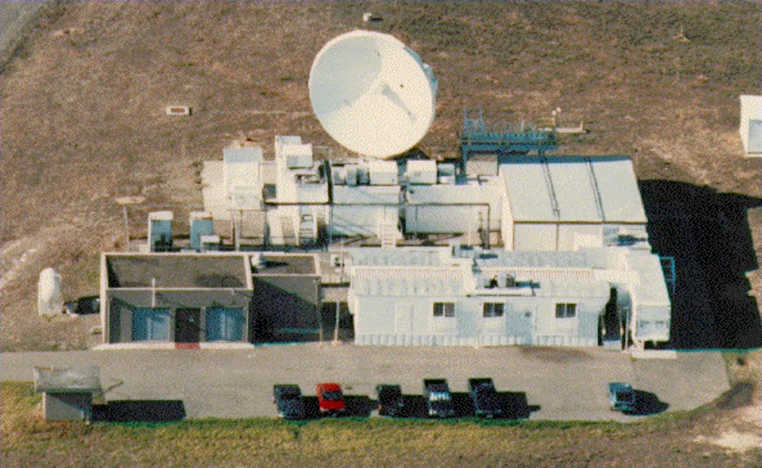 The 30th Space Wing's AN/TPQ-18 Radar is seen from above in 1990. The radar was installed in its present location in 1965 and was accepted for operational support in November of the same year. The Radar supported its first mission as a commissioned asset in March of 1966. (Courtesy photo)