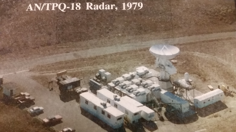 The 30th Space Wing's AN/TPQ-18 Radar is seen from above in 1979. The radar was installed in its present location in 1965 and was accepted for operational support in November of the same year. The radar supported its first mission as a commissioned asset in March of 1966. (Courtesy photo)