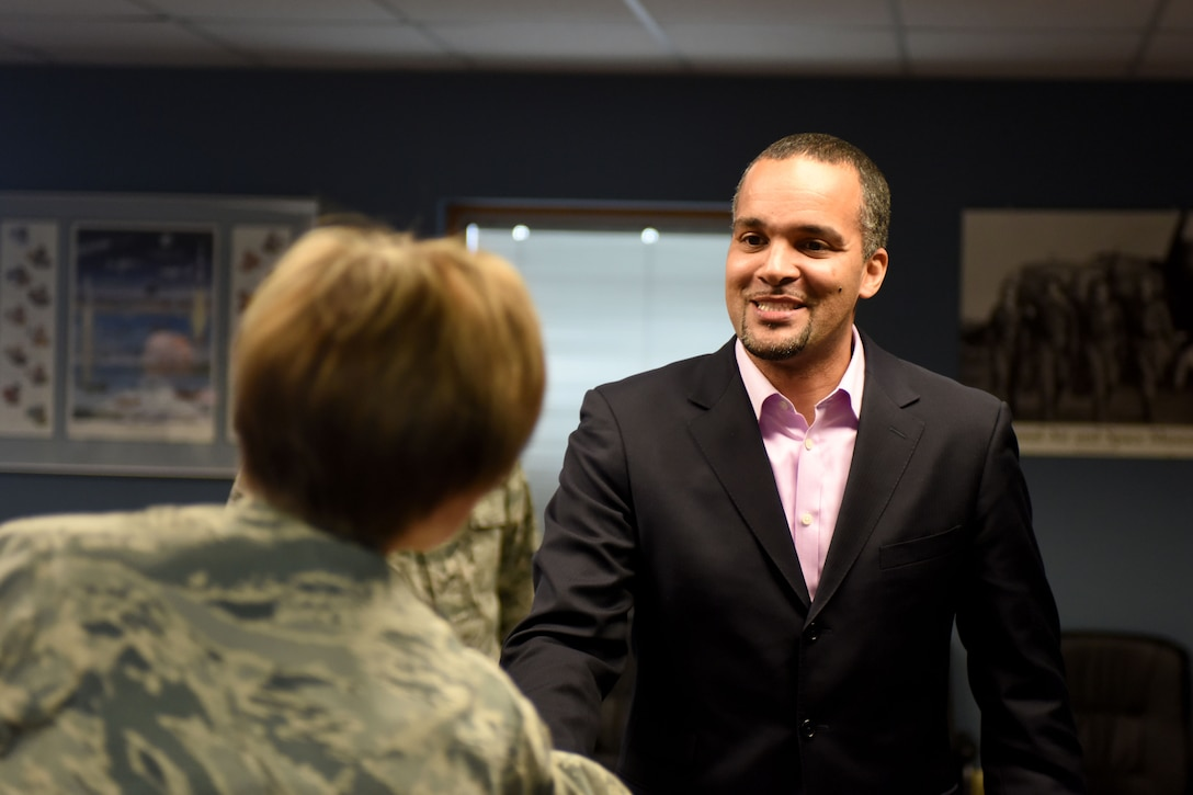Luke Fedlam visits Rickenbacker Air National Guard Base as the Honorary Commander for the 121st Air Refueling Wing Feb. 24, 2016. The Honorary Commander program allows community leaders the opportunity to witness the missions, programs and operations of the military units first hand. (U.S. Air National Guard photo by Airman 1st Class Ashley Williams/Released)