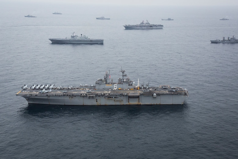 The USS Bonhomme Richard (LHD 6) sails with U.S. Navy ships from the Boxer and Bonhomme Richard Amphibious Ready Groups as well as the Republic of Korea Navy ships of the Dokdo Amphibious Ready Group from the Republic of Korea as part of Ssang Yong 2016, March 8, 2016. Ssang Yong is a biennial military exercise focused on strengthening the amphibious landing capabilities of the Republic of Korea, the U.S., New Zealand and Australia. The Marines and sailors of the 31st Marine Expeditionary Unit are currently embarked on the ships of the Bonhomme Richard ARG for their spring deployment to the Asia-Pacific region. (U.S. Marine Corps photo by Cpl. Darien J. Bjorndal, 31st Marine Expeditionary Unit/ Released)