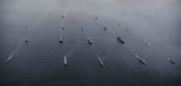 U.S. ships from the Boxer and Bonhomme Richard Amphibious Ready Groups sail with the Dokdo Amphibious Ready Group from the Republic of Korea as part of Ssang Yong 16, March 8, 2016. Ssang Yong is a biennial military exercise focused on strengthening the amphibious landing capabilities of the Republic of Korea, the U.S., New Zealand and Australia. (U.S. Marine Corps photo by Cpl. Darien J. Bjorndal, 31st Marine Expeditionary Unit/Released)
