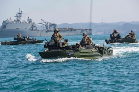 U.S. Marines with Alpha Company, Battalion Landing Team 1st Battalion, 5th Marines, 31st Marine Expeditionary Unit, conduct a combined amphibious assault on Dogu Beach, South Korea, in AAV-P7/A1 Amphibious Assault Vehicles as part of Ssang Yong 16, March 12, 2016.  Ssang Yong is a biennial combined amphibious exercise conducted by U.S. forces with the Republic of Korea Navy and Marine Corps, Australian Army and Royal New Zealand Army Forces in order to strengthen interoperability and working relationships across a wide range of military operations. The Marines and Sailors of the 31st MEU are in Korea as part of their spring deployment to the Asia-Pacific region. (U.S. Marine Corps photo by Lance Cpl. Carl King Jr./Released)