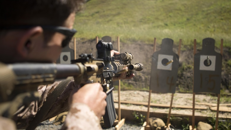 A Marine with Company A, 1st Reconnaissance Battalion performs rifle drills during a combat marksmanship program led by Expeditionary Operations Training Group March 17, 2016 at Marine Corps Base Camp Pendleton, California. The shooting package helps to better prepare these Marines for an upcoming deployment with the 11th Marine Expeditionary Unit.