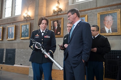 Defense Secretary Ash Carter is given a demonstration of a cyber rifle designed to shoot down drones during his visit to the U.S. Military Academy in West Point, N. Y., March 23, 2016. DoD photo by Petty Officer 1st Class Tim D. Godbee