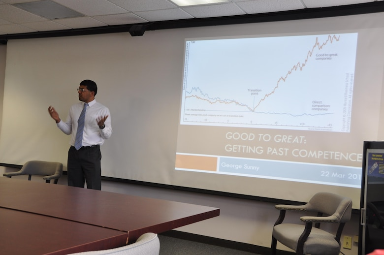 Project Manager George Sunny presents at the LDP book report meeting