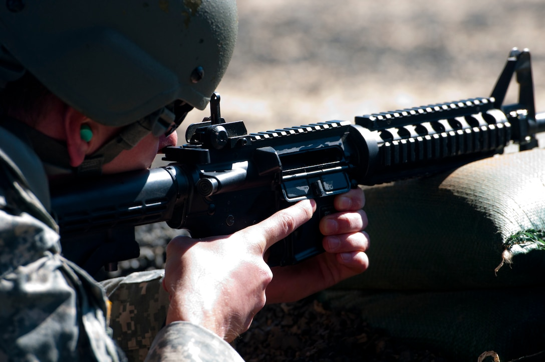 A Soldier pauses in the ready position on a firing range at Fort Jackson, S.C. on March 22, during the combined Best Warrior and Drill Sergeant of the Year competitions for the 108th Training Command (Initial Entry Training). This year's Best Warrior competition will determine the top noncommissioned officer and junior enlisted Soldier who will represent the 108th Training Command (IET) in the Army Reserve Best Warrior competition later this year at Fort Bragg, N.C. This year's Drill Sergeant of the Year competition will determine the top two drill sgts. who will compete in the TRADOC Drill Sgt. of the Year competition later this year at Fort Jackson, S.C. (U.S. Army photo by Maj. Michelle Lunato/released)