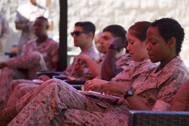 Marines and Sailors with 1st Marine Logistics Group take part in a guided group discussion during a Coalition of Sailors and Marines Against Destructive Decisions (CSMADD) event at Camp Pendleton Mar. 16, 2016. CSMADD targets service members between the ages of 18-25 and puts them in a position to influence their peers to make better decisions while also assessing their own ability to make sound, responsible choices. CSMADD was founded by Petty Officer 1st Class Savannah Dukes, the lead petty officer of 1st Medical Battalion, 1st MLG, in January, 2016. (Marine Corps Photo by Cpl. Demetrius Morgan/RELEASED)