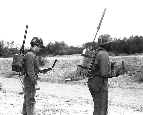 Two Soldiers test early models of GPS manpack receivers in 1978. (U.S. Air Force photo)