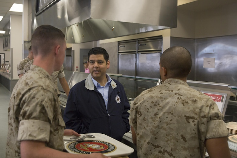 Congressman Raul Ruiz speaks to Marines at Phelps Mess Hall during his visit to the Combat Center, March 18, 2016. (Official Marine Corps photo by Cpl. Medina Ayala-Lo/Released)