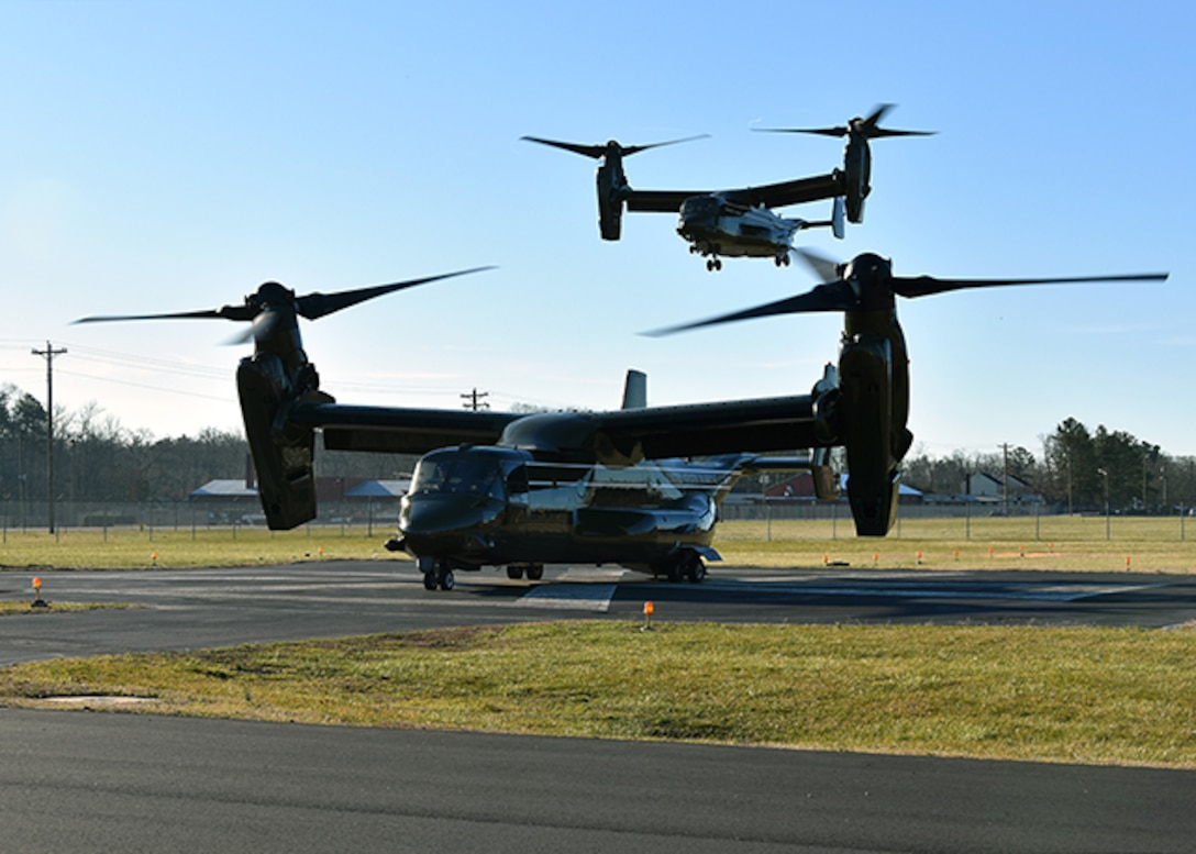 Two MCV-22 Osprey aircraft flew to Defense Supply Center Richmond March 1, 2016. Onboard is Defense Logistics Agency's Marine Corps Deputy Commandant for Aviation Lt. Gen. Jon Davis who arrived to speak from the voice of the customer perspective on readiness, process excellence, and resiliency during the Senior Leader Conference held March 1-3, 2016. The Osprey was flown by the Marine Corps Squadron One and is the second landing on the Defense Supply Center Richmond's helipad.