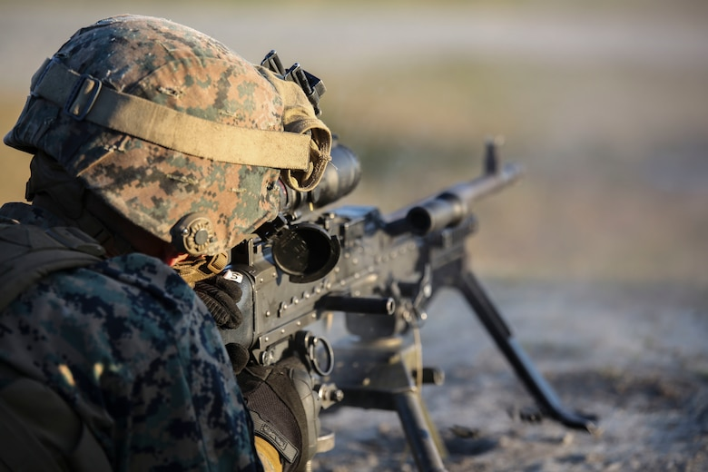A Marine with 2nd Combat Engineer Battalion engages targets with an M240B machine gun during the machine gun range portion of the battalion's sapper squad competition at Camp Lejeune, N.C., March 23, 2016. During this event, squads worked together to engage targets at ranges up to 800 meters. (U.S. Marine Corps photo by Cpl. Paul S. Martinez/Released)