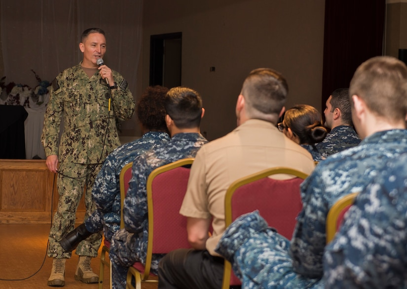 The Master Chief Petty Officer of the Navy, Mike Stevens answers several questions from more than 100 Sailors during an all hands event at the Joint Base Charleston – Weapons Station, S.C., March 24, 2016. Stevens was visiting the base as part of a two-week tour of East Coast military bases, from Norfolk, Virginia to Key West Fla. He wanted to communicate face-to-face with Sailors. (U.S. Air Force photo/Staff Sgt. Jared Trimarchi)