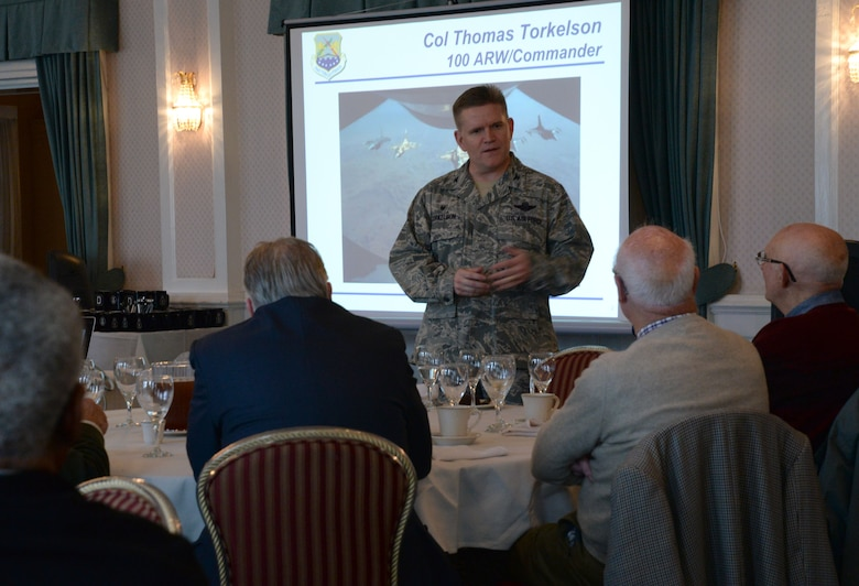 U.S. Air Force Col. Thomas D. Torkelson, 100th Air Refueling Wing commander, speaks to guests of the Clergy Day tour March 22, 2016, on RAF Mildenhall, England. Torkelson spoke about the importance of spirituality in his life and showed appreciation to the local clergy members for supporting the Airmen and their families during their tour in England. (U.S. Air Force photos by Senior Airman Justine Rho/Released)