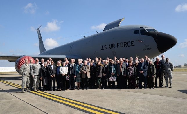 The Team Mildenhall chaplain corps and local clergy members gather for a group photo in front of a KC-135 Stratotanker March 22, 2016, on RAF Mildenhall, England. Local clergy members were invited to the base to gain a better understanding of the mission and Airmen that their community supports. The event was organized to show appreciation to the guests for supporting military members and their families during their tour in England. (U.S. Air Force photo by Senior Airman Justine Rho/Released)