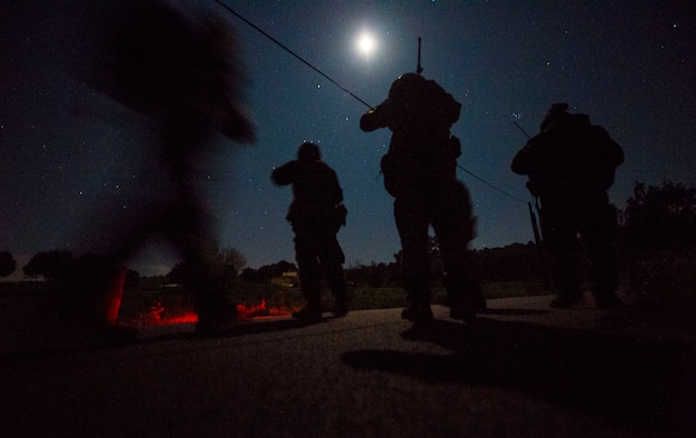 Joint terminal attack controllers from the 2nd Air Support Operations Squadron work through a nighttime scenario as part of exercise Serpentex '16, March 15, 2016, in Corsica, France. Training at night helps JTACs hone their skills by using different tools and techniques to call in close air support in more challenging circumstances. (U.S. Air Force photo/Staff Sgt. Sara Keller)