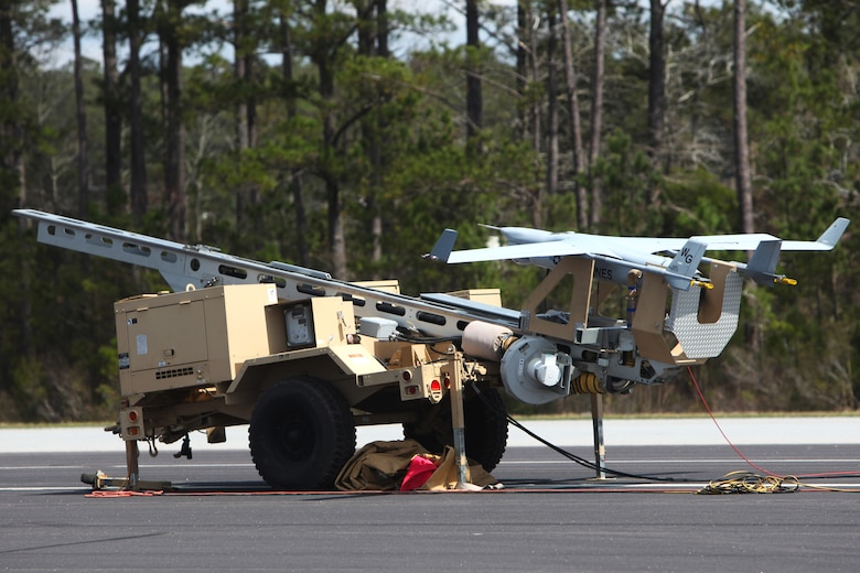An RQ-21A Blackjack is prepared for its first flight into Class D airspace over Marine Corps Air Station Cherry Point, N.C., March 21, 2016. The Blackjack is designed to operate off a Marine Expeditionary Unit in support of ground forces deployed worldwide. (U.S. Marine Corps photo by Pfc. Nicholas P. Baird/Released)