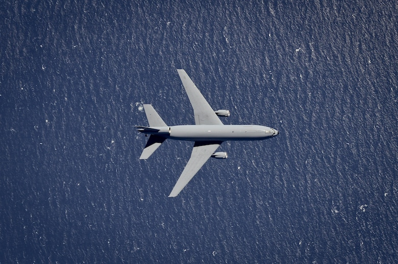 A KC-10 Extender from the 305th Air Mobility Wing flies over the Atlantic Ocean March 18, 2016. The wing is stationed at Joint Base McGuire-Dix-Lakehurst, N.J. (U.S. Air National Guard photo/Tech. Sgt. Matt Hecht)