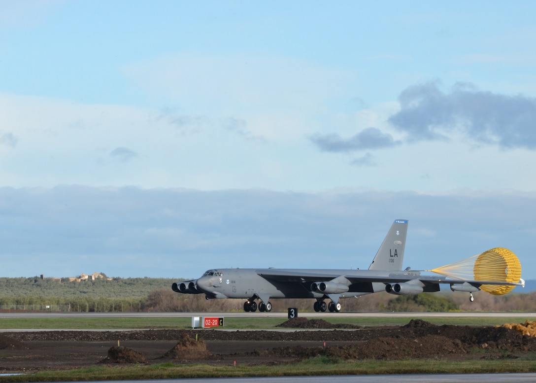 A B-52 Stratofortress arriving at Morón Air Base, Spain, deploys a drogue parachute to slow itself after landing Feb. 27, 2016. Three B-52s from Barksdale Air Force Base, La., were temporarily reassigned to the 2nd Expeditionary Bomb Group for Cold Response 16, a large-scale NATO military exercise. The Norwegian-led exercise involved approximately 16,000 troops from a dozen allied and partner nations and lasted nearly two weeks. (U.S. Air Force photo/Senior Airman Joseph Raatz)