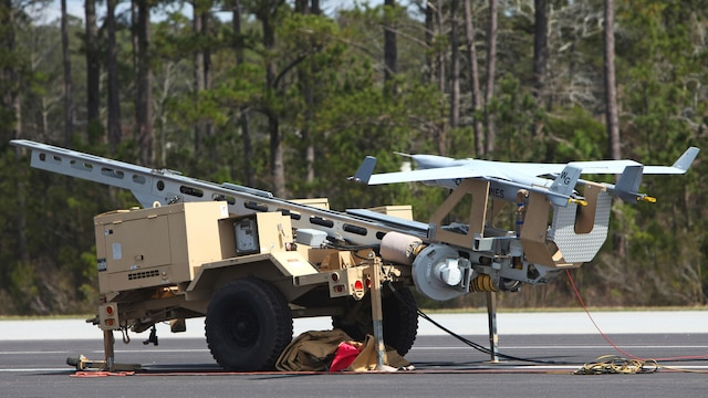 An RQ-21A Blackjack is prepared for its first flight into Class D airspace over Marine Corps Air Station Cherry Point, North Carolina, March 21, 2016. The Blackjack is designed to operate off a Marine Expeditionary Unit in support of ground forces deployed worldwide.