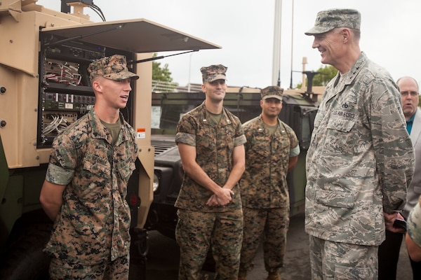 Busch visits Marines from 3rd Marine Regiment on Marine Corps Base Hawaii, March 21, 2016. They discussed the challenges of being forward deployed and how forward-deployed equipment from the DLA Distribution Depot in Hawaii contributes to readiness.