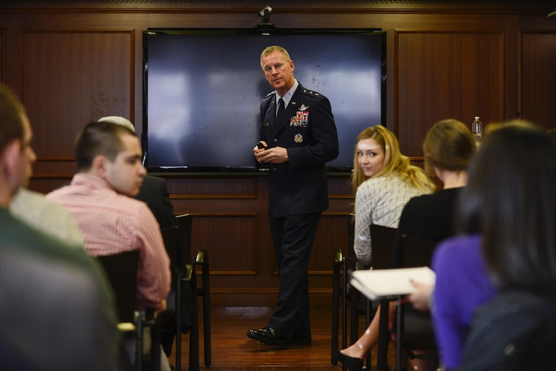 Maj. Gen. Lawrence M. Martin Jr., the assistant deputy undersecretary of the Air Force for international affairs, engages with students from the Georgetown University Institute of the Study of Diplomacy and the Security Studies department to talk about global security cooperation March 22, 2016, in Washington, D.C. (U.S. Air Force photo/Tech. Sgt. Joshua L. DeMotts)