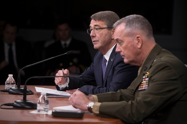 Defense Secretary Ash Carter and Marine Corps Gen. Joe Dunford, chairman of the Joint Chiefs of Staff, answer questions about efforts against the Islamic State of Iraq and the Levant during a news conference at the Pentagon, March 25, 2016. DoD photo by Navy Petty Officer 1st Class Tim D. Godbee