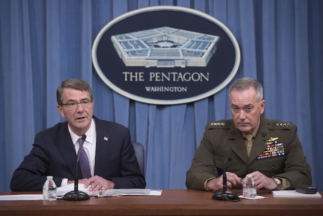Defense Secretary Ash Carter and Marine Corps Gen. Joe Dunford, chairman of the Joint Chiefs of Staff, speak to reporters about efforts against the Islamic State of Iraq and the Levant during a news conference at the Pentagon, March 25, 2016. DoD photo by Navy Petty Officer 1st Class Tim D. Godbee