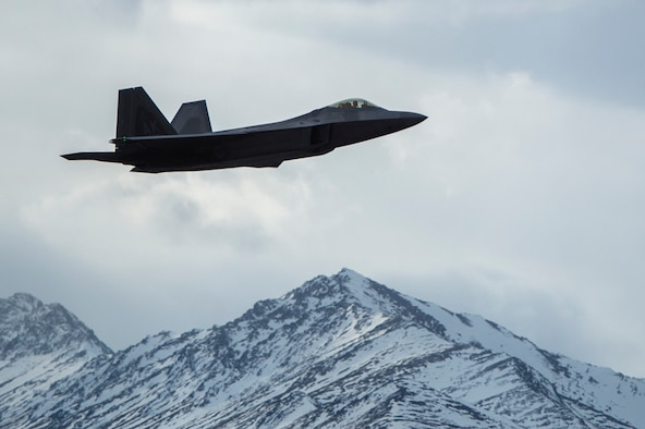 A U.S. Air Force F-22 Raptor takes off from Joint Base Elmendorf-Richardson for a training sortie, March 24, 2016. Training sorties are imperative to pilot development and overall mission effectiveness. (U.S. Air Force photo by Senior Airman James Richardson/Released)