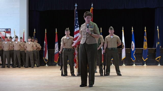 Brig. Gen. Lori E. Reynolds, the commanding general of Marine Forces cyberspace Command, speaks to the audience during the activation of command ceremony of Marine Corps Cyberspace Warfare Group at Fort George G. Meade, Maryland, March 25, 2016. The mission of MCCYWG is to man, train and equip Marine Cyberspace mission teams to perform both defensive and offensive cyber operations in support of United States Cyber Command and Marine Forces Cyberspace Command.