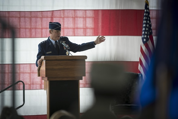 Lt. Gen. Chris Nowland, 12 Air Force (Air Force Southern) commander, speaks to the 366th Fighter Wing during a change of command ceremony, March 24, 2016, at Mountain Home Air Force Base, Idaho. Nowland presided over the 366th FW change of command. (U.S. Air Force photo by Tech. Sgt. Samuel Morse/RELEASED)