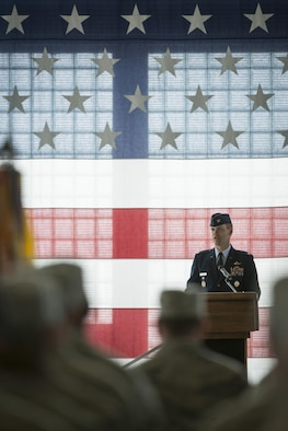 Col. Jefferson O'Donnell, 366th Fighter Wing commander, addresses the Wing for the first time as the commander, March 24, 2016, at Mountain Home Air Force Base, Idaho. O'Donnell will be responsible for a wing comprised of 4,200 military and civilian personnel. (U.S. Air Force photo by Tech. Sgt. Samuel Morse/RELEASED)