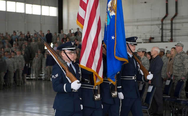 The base honor guard departs during the 366th Fighter Wing change of command ceremony at Mountain Home Air Force Base, Idaho, March 24, 2016. Col. Jefferson O'Donnell took command of the 366th FW from Col. David Iverson. after serving as Iverson's vice commander for the previous nine months.  (U.S. Air Force photo by Airman 1st Class Chester Mientkiewicz/Released)