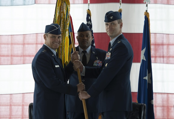 Col. Jefferson O'Donnell takes command of the 366th Fighter Wing, March 24, 2016, at Mountain Home Air Force Base, Idaho. O'Donnell acted as the vice wing commander for the past nine months. (U.S. Air Force photo by Senior Airman Malissa Lott/Released)