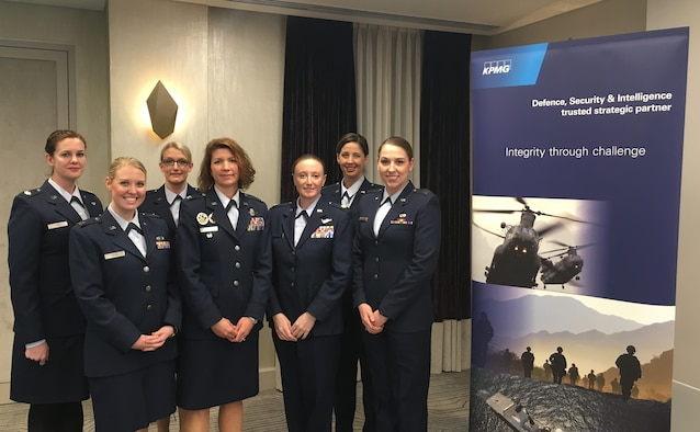 Airmen from Royal Air Forces Lakenheath and Mildenhall attend the Women in Aerospace, Defence & Intelligence Leadership Forum on Monday, March 14. Colonel Robyn Slade, U.S. Air Forces in Europe-United Kingdom deputy director, served as a panel member, while the other Airmen joined an audience of more than 100 men and women, to discuss the many facets of leadership. (Courtesy Photo)