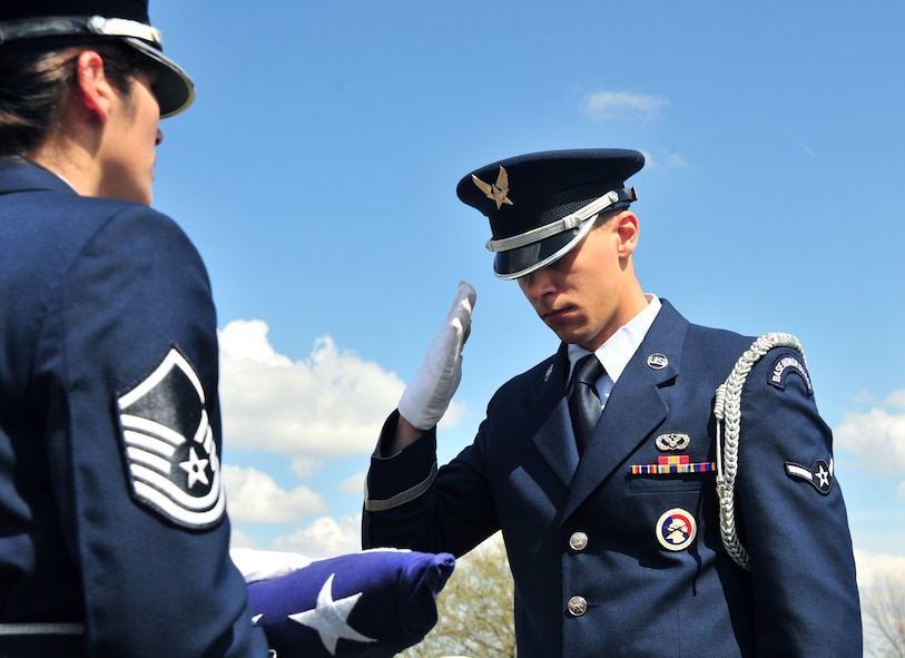Members of Whiteman Honor Guard practice the procedures of a military funeral at Knob Noster cemetery in Knob Noster, Mo., March 15, 2016. Whiteman Honor Guard serves more than 100 counties spanning Missouri to Kansas covering more than 70,000 square miles across both states. Whiteman Honor Guard represents the respect each fallen service member deserves, and upholds traditions held dear to the armed forces. (U.S. Air Force photo by Airman 1st Class Jovan Banks)