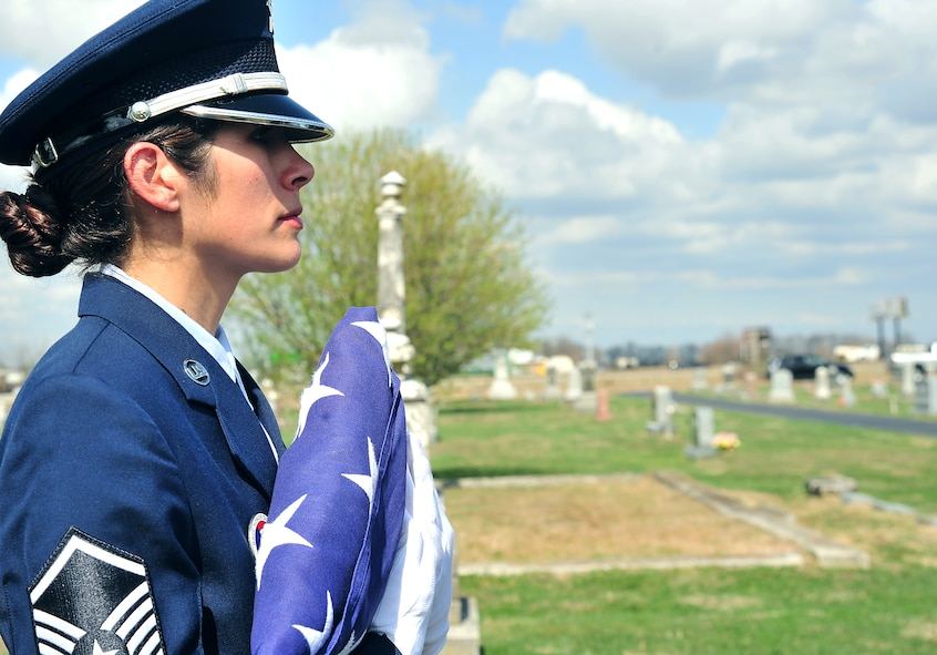 Members of Whiteman Honor Guard practice the procedures of a military funeral at Knob Noster cemetery in Knob Noster, Mo., March 15, 2016. Whiteman Honor Guard serves more than 100 counties spanning Missouri to Kansas covering more than 70,000 square miles across both states. Whiteman Honor Guard represents the respect each fallen service member deserves, and upholds traditions held dear to the armed forces. (U.S. Air Force photos by Airman 1st Class Jovan Banks)