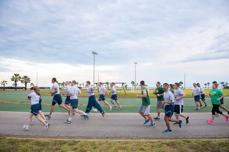 Members from Patrick Air Force Base and Cape Canaveral Air Force Station, Fla., participate in the 2016 Air Force Assistance Fund 5K Run, March 25, 2016, which benefits four official Air Force charities. The annual AFAF campaign, titled 'Airmen Helping Airmen' kicked off March 23, and patrons can participate now through May 1, to raise this year's goal of $43,573. Participants were asked to wear their St. Patrick's Day running gear, as part of the 5K theme. (U.S. Air Force photo/Matthew Jurgens) (Released)