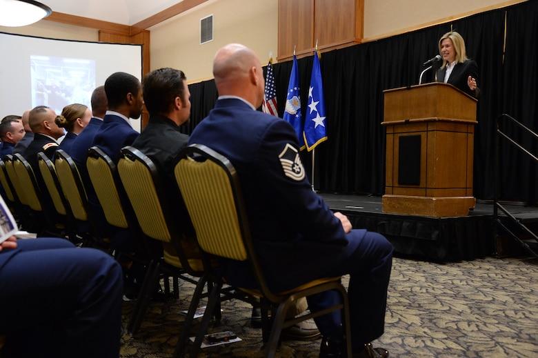 Dr. Elizabeth Sherwood-Randall, Deputy Secretary of the U.S. Department of Energy, addresses Solar Ready Vet graduates March 25 at Hill Air Force Base, Utah. (U.S. Air Force photo by R. Nial Bradshaw)